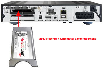 Rücseite Viaccess HD Receiver für SRG mit Modul